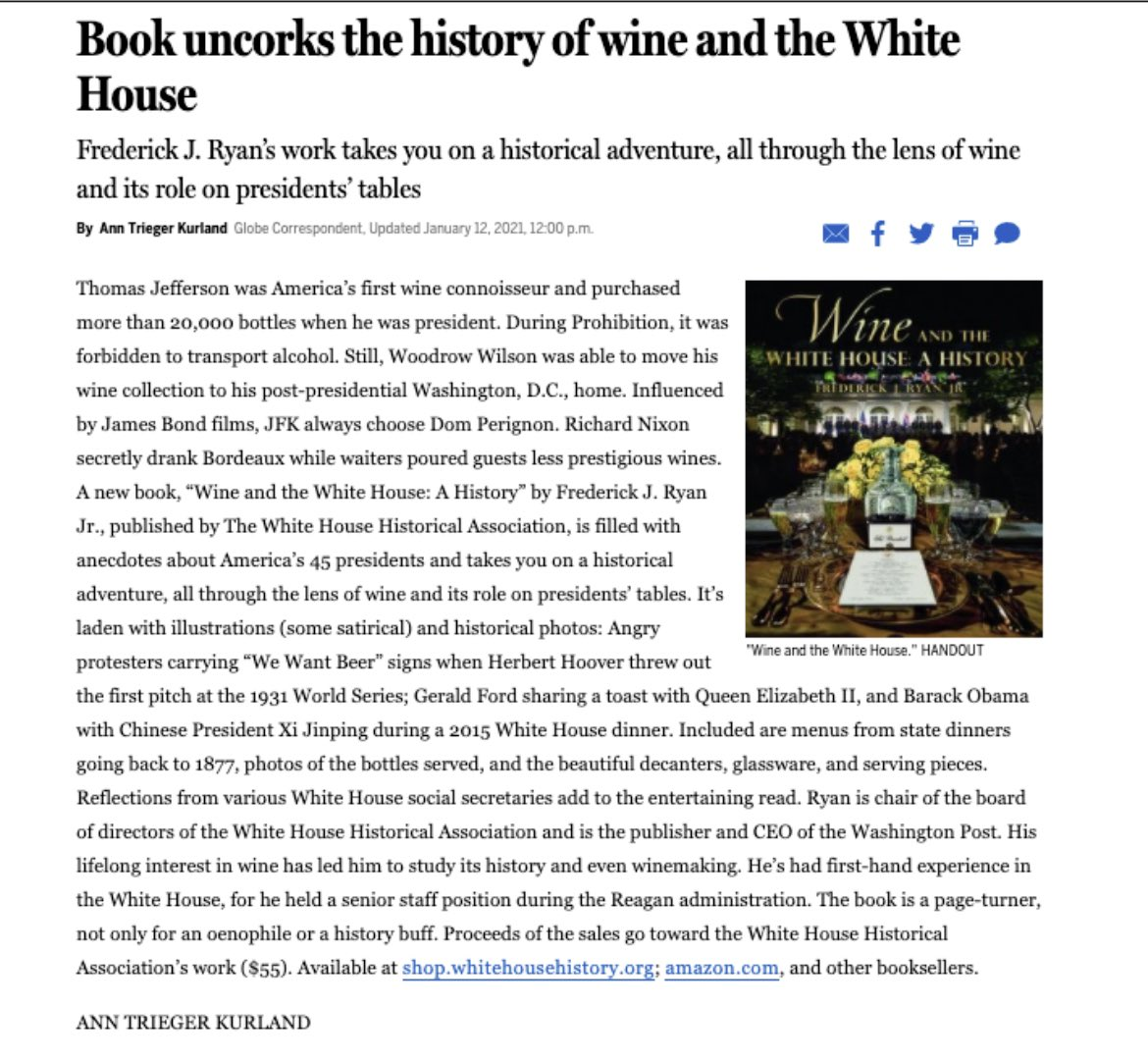 """Thank you Ann Trieger Kurland for this terrific @BostonGlobe feature today on our @WhiteHouseHstry book """"Wine and the White House: a History""""! This book and a nice bottle would pair well for the perfect #ValentinesDay present!"""