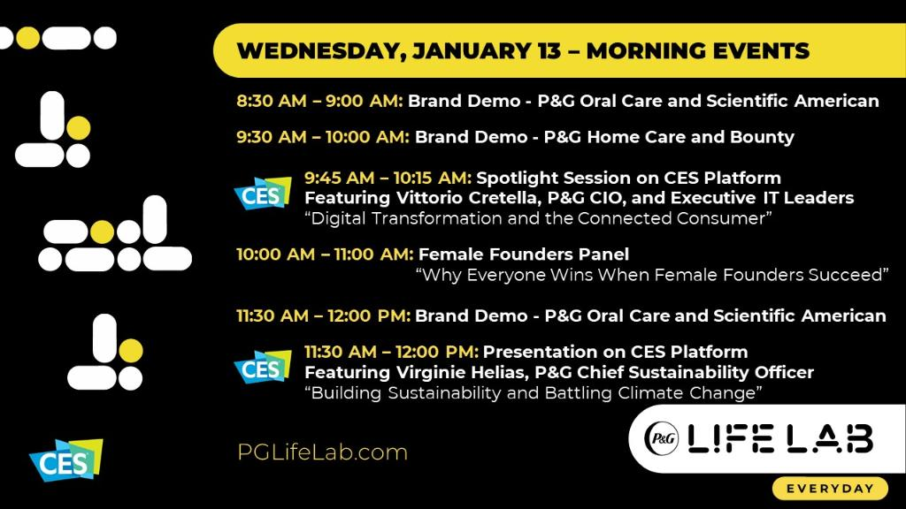 The #PGLifeLab stage is set for another busy day tomorrow, featuring the @PGVStudio Innovation Challenge at 12 PM EST happening at https://t.co/8n527dFEfS @CES welcomes CIO Vittorio Cretella for a Spotlight session with @iotconsortium #CES2021 https://t.co/De8ncgOcTr