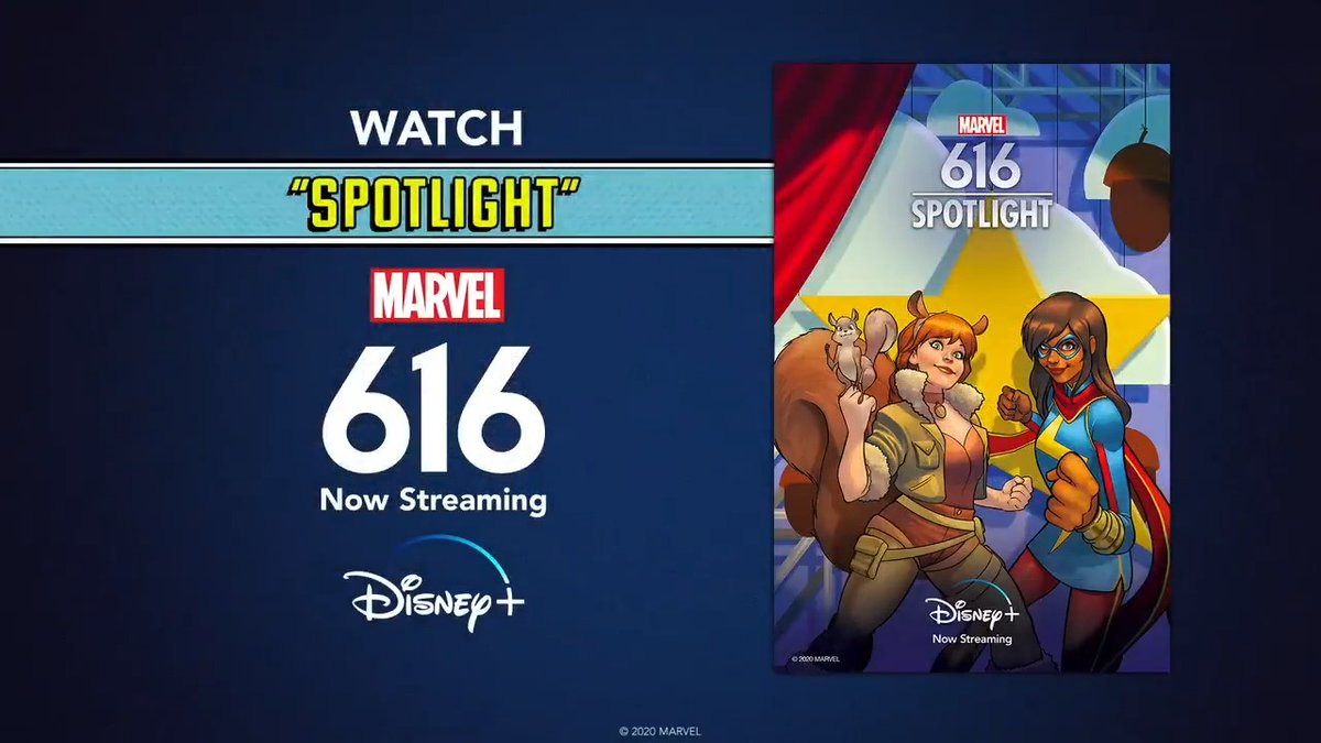 "Marvel: Acted out by high school theater students, Doreen Green, AKA Squirrel Girl, takes the stage in the ""Spotlight"" episode of ""Marvel's 616""!  All episodes of #Marvel616 are streaming on #DisneyPlus."