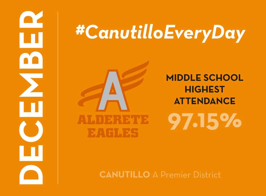 Congratulations to Alderete Middle School for being the middle school with the highest attendance at 97.15% in December! Let's continue to keep our kids present, engaged, and supported! Way to go Eagles!  #CanutilloEveryDay https://t.co/XEhmJytEB0