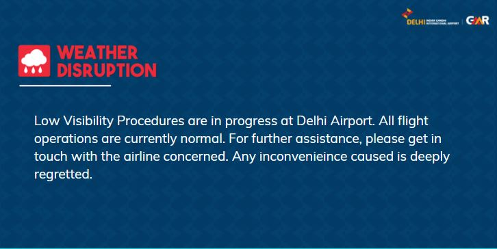 Update issued at 0508 hours: For live updates on the fog situation, visit  #FogAlert #DelhiAirport