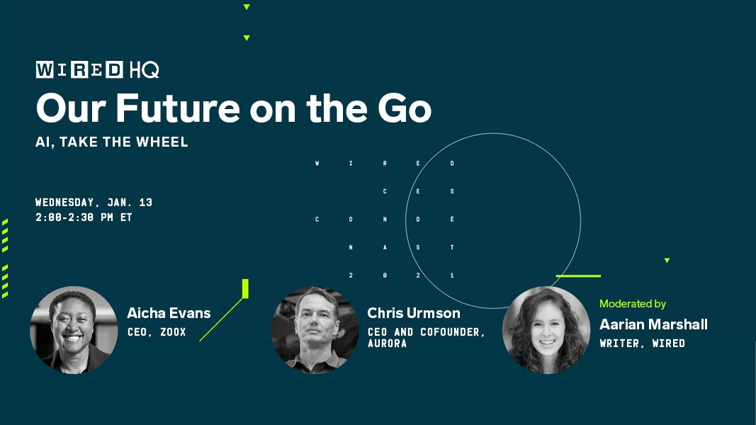 RT WIRED : The rise of AI is turning some of our most futuristic visions of transportation into a reality. But what will become fact and what will remain fiction? Watch the CEOs of @zoox and @aurora_inno weigh in tomorrow at #WIREDHQ. #CES  Register for …