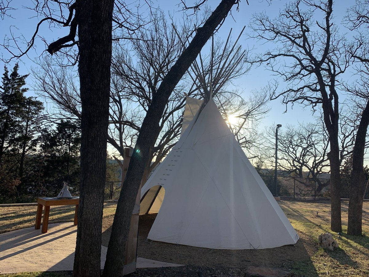 In Liichokoshkomo' you can visit a Kiowa tipi and learn about how the configuration of the smoke flap vents could control heat and airflow. Very cool! #HashtagTheCowboy Thanks, Tim https://t.co/6rHSKMJwan