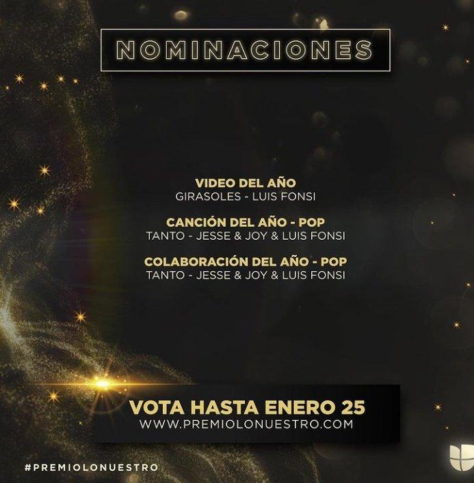 @LuisFonsi @premiolonuestro Felicitaciones 🎉! Allí estaremos presente VOTANDO en las siguientes NOMINACIONES:  #PremioLoNuestro #Girasoles #Tanto 🌻🎶♥️ ¡A VOTAR SE HA DICHO!