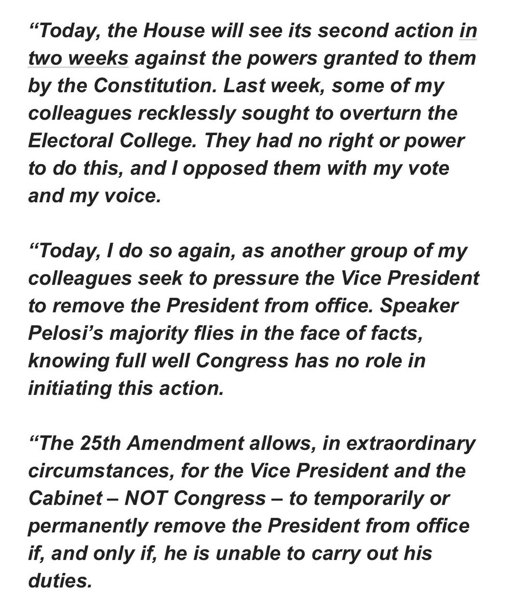 Congress' vote tonight to invoke the 25th Amendment is a hollow gesture. My statement: