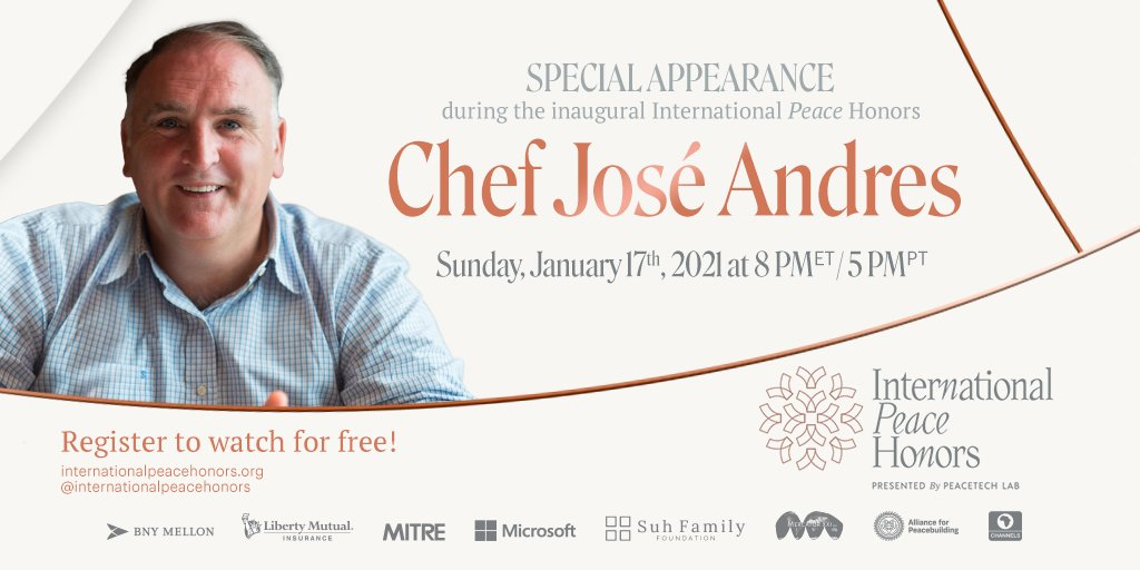 We are thrilled that @chefjoseandres is taking part in @IntlPeaceHonors on Jan. 17 to give the medal of honor to honoree @vgcerf. His organization, @WCKitchen, has healed communities by serving millions of meals through some of the globe's worst disasters.