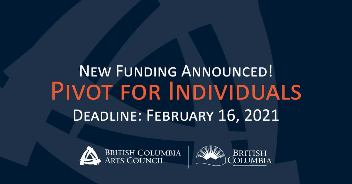 Apply now for @BCArtsCouncil's new Pivot for Individuals program, link below.  The program has 2 grant categories, Adaptation & Transition and Professional Development, with up to $12,000 in funding available. View press release here: https://t.co/3HL49k2Kwg