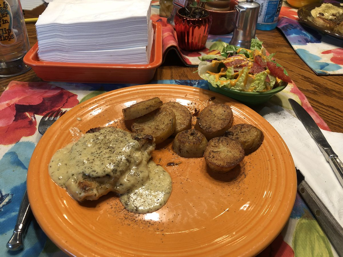 """Chicken with Mustard Cream Sauce and """"Melt in your mouth"""" potatoes.   Would make both again!"""