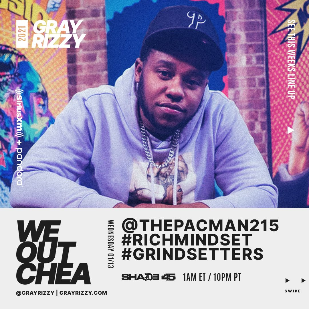 215 Whaddup! TONIGHT @grayrizzy welcome's #Philly artist @215Pacman on The #WeOutchea Show! Tune in starting at Midnight ET / 9p PT! #GOINCRAZY #BACKEND #RICHMINDSET #GRINDSETTERS 🔥