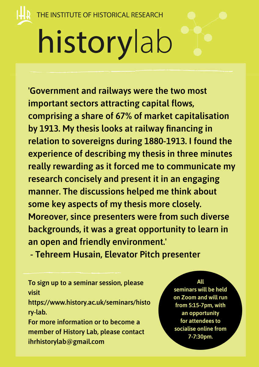 Our first seminar of the year is a week today! We aim to be as welcoming as possible, especially to students presenting for the first time to create a positive academic environment. This is what Tehreem, one of our elevator pitch presenters last term, said about her experience: