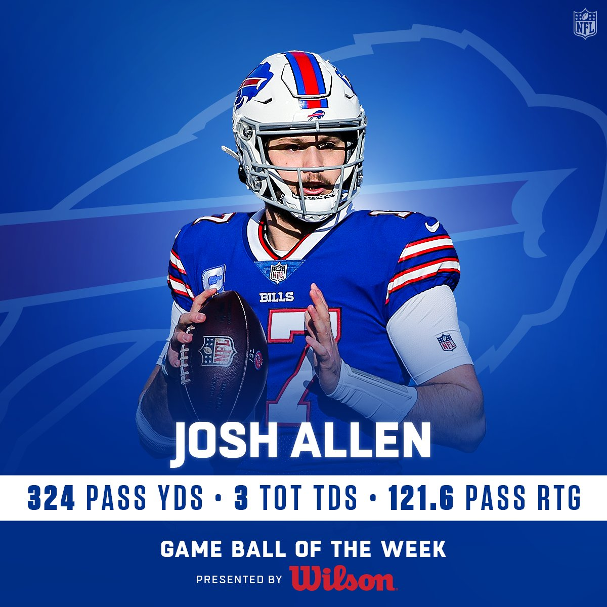 The game ball of #SuperWildCard Weekend goes to @BuffaloBills QB @JoshAllenQB! (by @WilsonFootball)