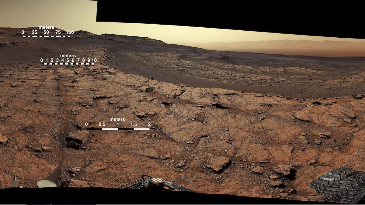 Like sands through the hourglass, so are the sols of our lives. Can you believe I've been here for 3,000 Martian days?   Here's a recent panorama marked by curved rock terraces, or benches. These formations aren't just scenic; they tell of ancient Mars.