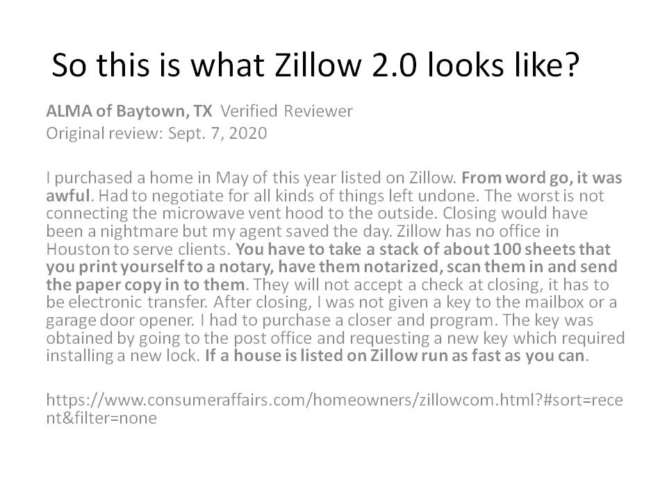 So this is what @Zillow 2.0 looks like? With $ZG CEO @Rich_Barton gushing about slick automated processes revolutionizing buying & selling Homes THIS is the reality1 home buyer experienced with $Z Loss making iBuying Business. #Trump2020  #AliAlexander #PortfolioDay Liz Cheney