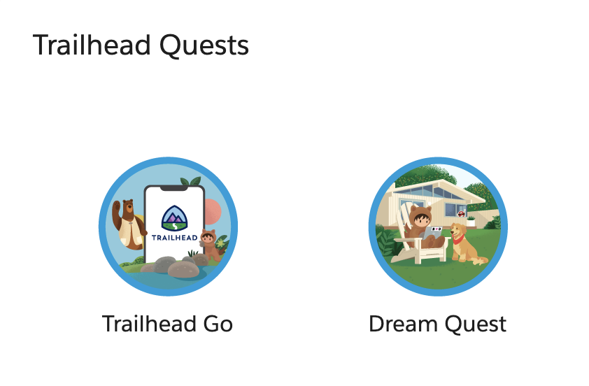 How cool 😍😍 the addition of these two new badges #TrailheadGo and #DreamTX quest on my @trailhead profile.  #Salesforce #TrailblazerCommunity @SalesforceDevs @SalesforceAdmns @SalesforceArchs  Join the Learning Adventure > Choose a Quest: