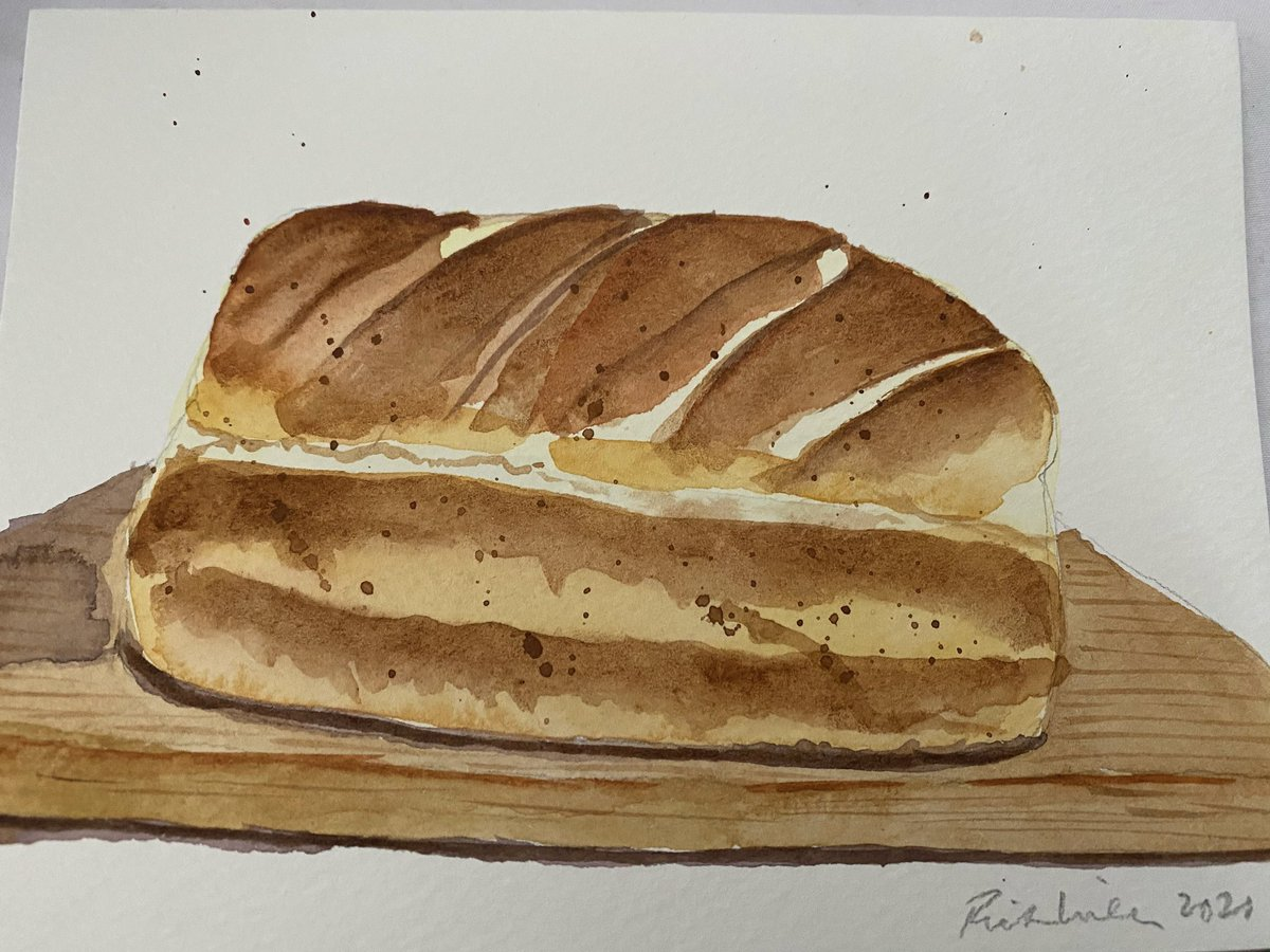 A friend of mine baked us a loaf of bread. So I painted this loaf of bread as a thank you with warnings that, unlike his loaf,  it cannot be eaten.