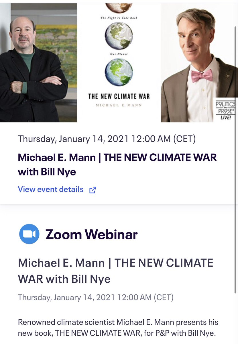 Just registered—midnight CET tonight!Can't wait to learn more about @MichaelEMann's crucial new book #NewClimateWar & hearing Dr Mann + @BillNye discussing #climatechange & how we can save the planet @PoliticsProse @public_affairs @ReelSmartVideo #science  https://t.co/axZewtkfzb https://t.co/VKWSaDvfjg