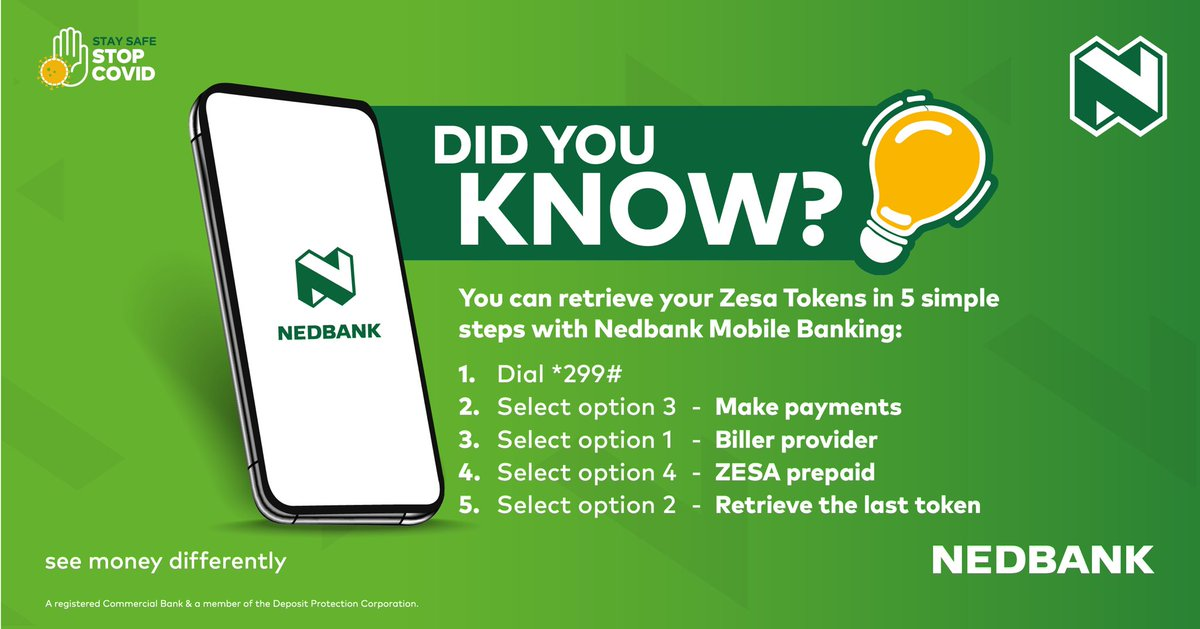 Did you know? You can retrieve your ZESA tokens in a few easy steps. #MoneyExperts #BankFromHome #StaySafe @NedbankZimbabwe #SeeMoneyDifferently