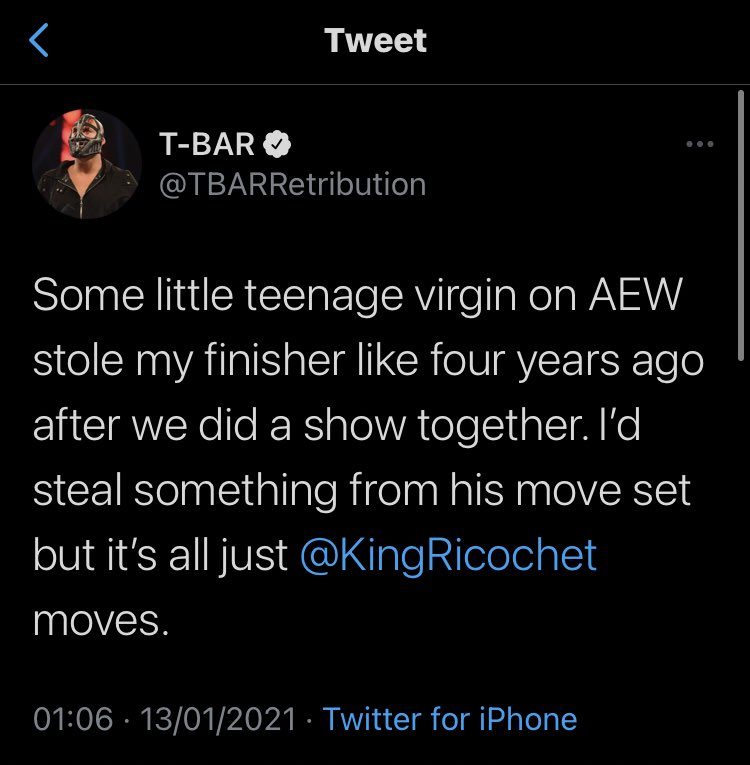 T-Bar calls out Sammy Guevara on Twitter. (Image Credits: @TBARRetribution on Twitter)