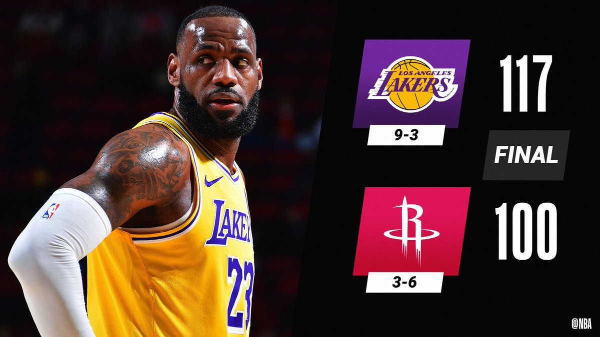 LeBron James (26 PTS) and the @Lakers improve to an NBA-best 9-3.  Anthony Davis: 19 PTS (7-8 FGM), 10 REB, 5 BLK Kentavious Caldwell-Pope: 14 PTS (4-5 3PM), 3 STL