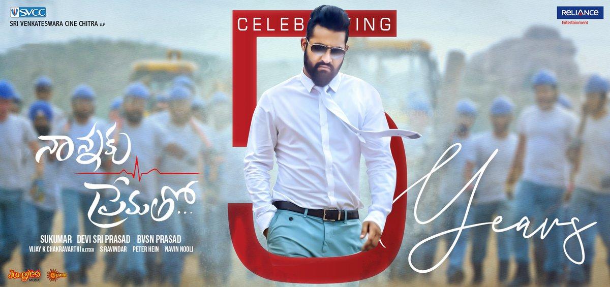 A Movie which holds a very special place in our banner, Celebrating 5 years of Young Tiger @tarak9999 & @aryasukku's Massive Blockbuster #NannakuPrematho 🥳  #5YearsOfNannakuPrematho @Rakulpreet #RajendraPrasad @IamJagguBhai @ThisIsDSP @SVCCofficial @Shibasishsarkar @RelianceEnt