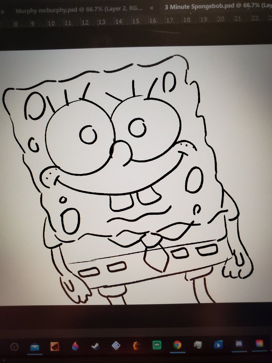"""There's no such thing as cursed spongebob, he can't hurt you""  *3 minute spongebob I drew to test my tablet*"
