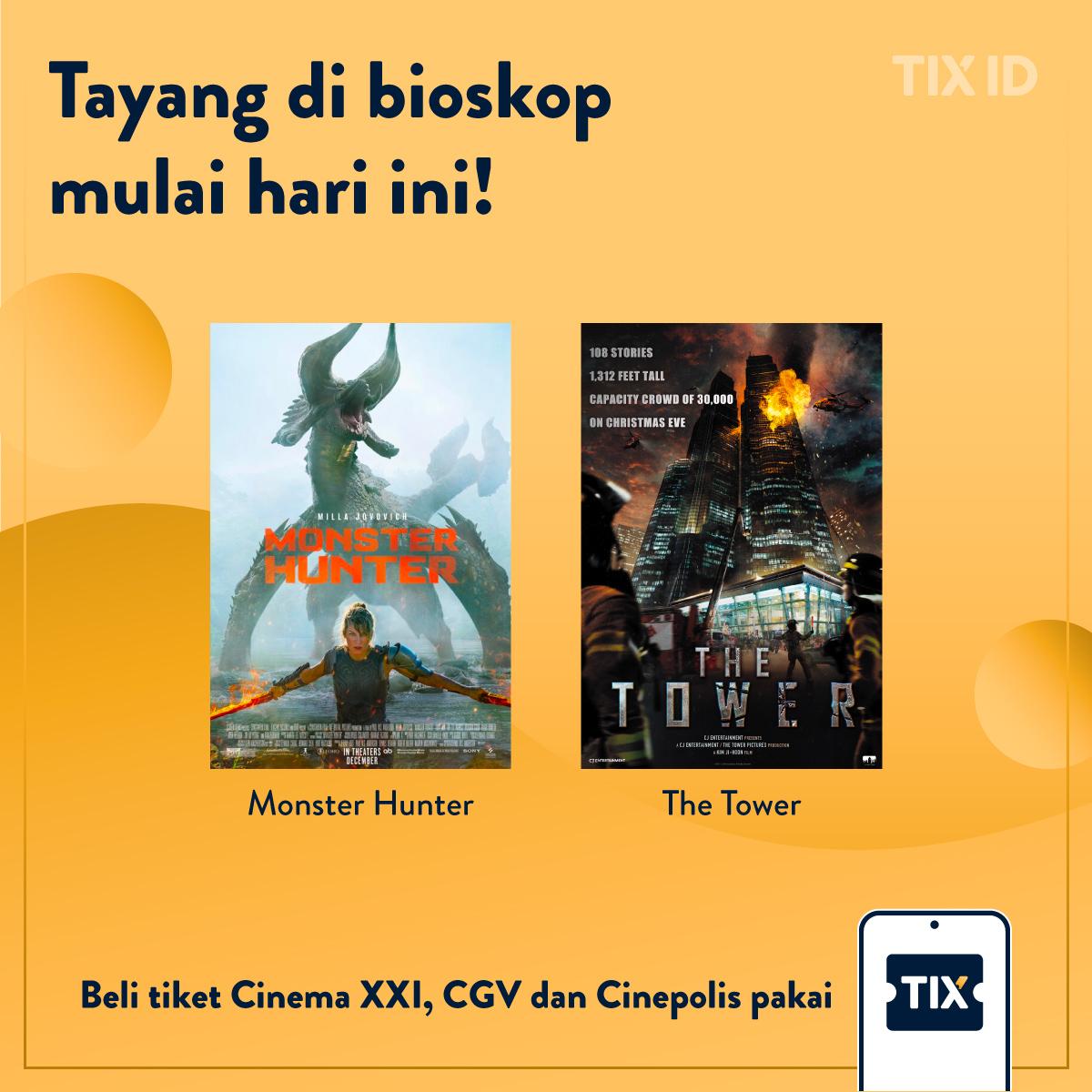TAYANG MULAI HARI INI! Ada 2 film baru yang tayang hari ini di bioskop-bioskop kesayangan kamu. Inget, selalu ikutin protokol kesehatan yang ada yaa biar suasana menonton kamu lebih nyaman! . #filmbaru #infofilm #kembalikebioskop #nontonfilm #MonsterHunterMovieID #TheTower