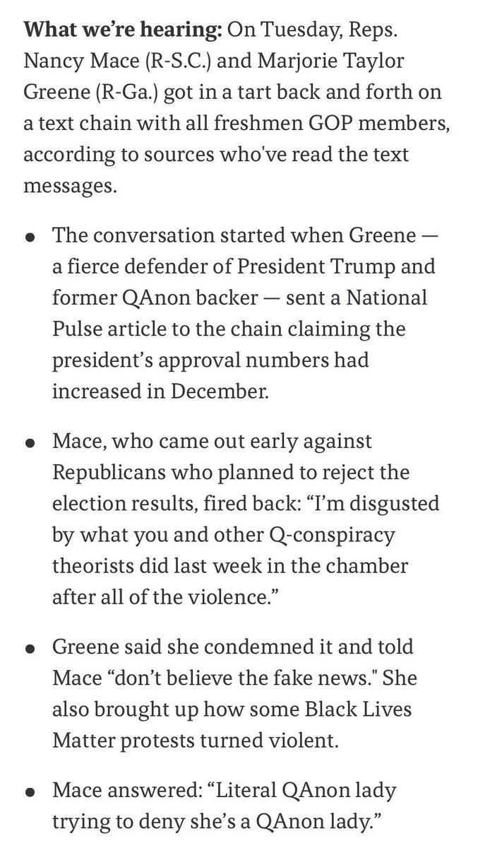 """Freshman GOP Rep. Nancy Mace (SC) apparently called out """"literal QAnon lady"""" Marjorie Taylor Greene on a text chain with all freshman GOP Members. https://t.co/AoQ2pTGoux"""