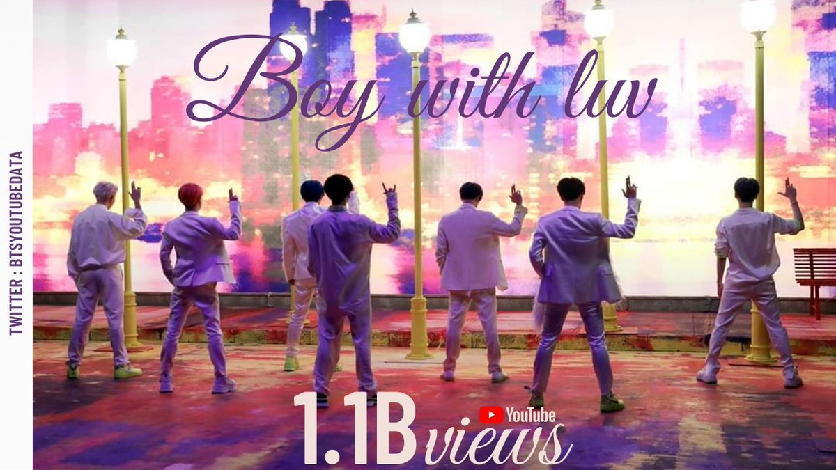 """BTS⁷ youtube ᴮᴱ's tweet - """"'Boy With Luv' (ft. Halsey) MV has surpassed 1.1  Billion views on YouTube, @BTS_twt's 2nd music video to do so """" - Trendsmap"""