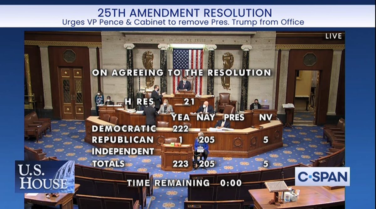By a vote of 223-205, the House just passed our 25th Amendment Resolution urging Vice President Pence to convene and mobilize the Cabinet to act on the crisis of President Trump's incapacity. He is clearly incapable of meeting the duties of his office.