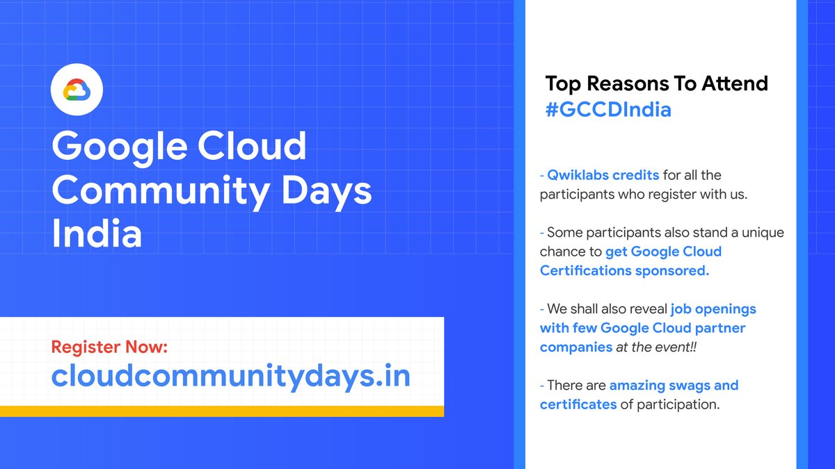 ☁️ Brace yourselves, as 10 GDGs from 🇮🇳 come together for the annual Cloud conclave - #GoogleCloudCommunityDaysIndia  📅When: Jan 22nd-23rd Know more & register👉   There's more than just sessions and events! 🎁 Check out what more is in store for you! 🤩⬇️