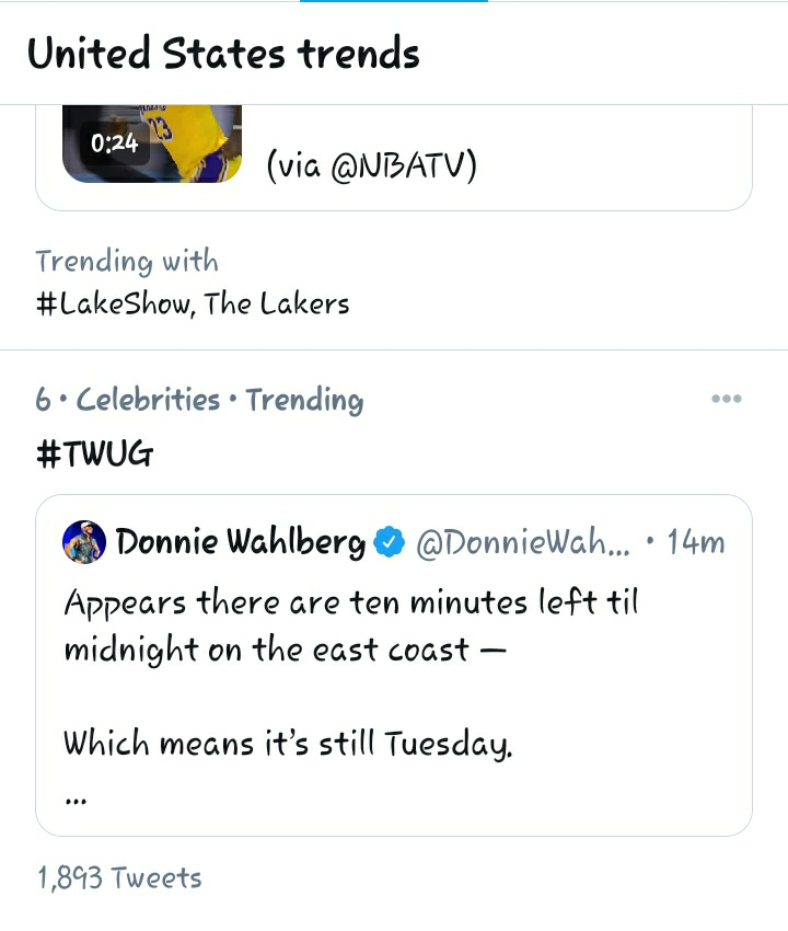 Look at this @DonnieWahlberg! Trending already! #TWUG