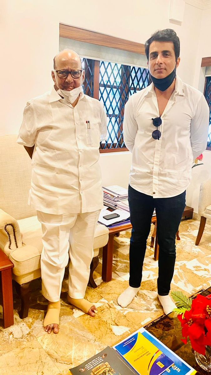 Mumbai: Actor #SonuSood pays a courtesy visit to NCP chief Sharad Pawar at the latter's residence today. (ANI)