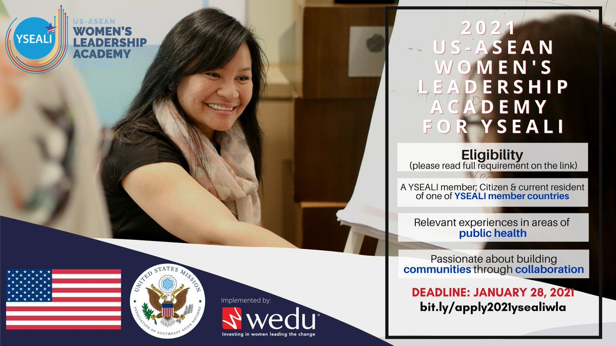 Calling women leaders in the public health sector: Join the 2021 @YSEALI Women's Leadership Academy, organized by the @USMission2ASEAN, in collaboration with @wedu_global.   Check the eligibility requirements and learn how to apply here: https://t.co/w8QhBXbvgo https://t.co/LswmJTZuVb