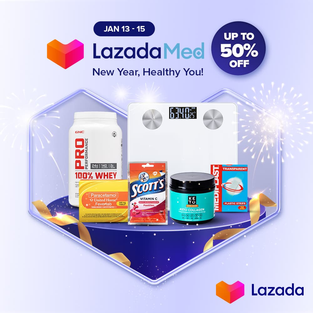 New year, healthy you! Get the biggest discounts on Lazada Med with up to 50% OFF and FREE SHIPPING.  Shop at  from JAN 13-15 dahil vitamins & supplements, over-the-counter meds, and medical supplies — #NasaLazadaYan 🩺 #LazadaPH