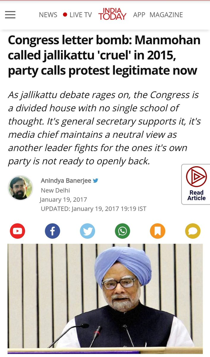 @Swamy39 Maunmohan Singh in 2017 wrote a letter against Jallikattu, called it 'Cruel'  Now when Rahul Gandhi is going to watch it, MMS will become Maunmohan again.  @Swamy39