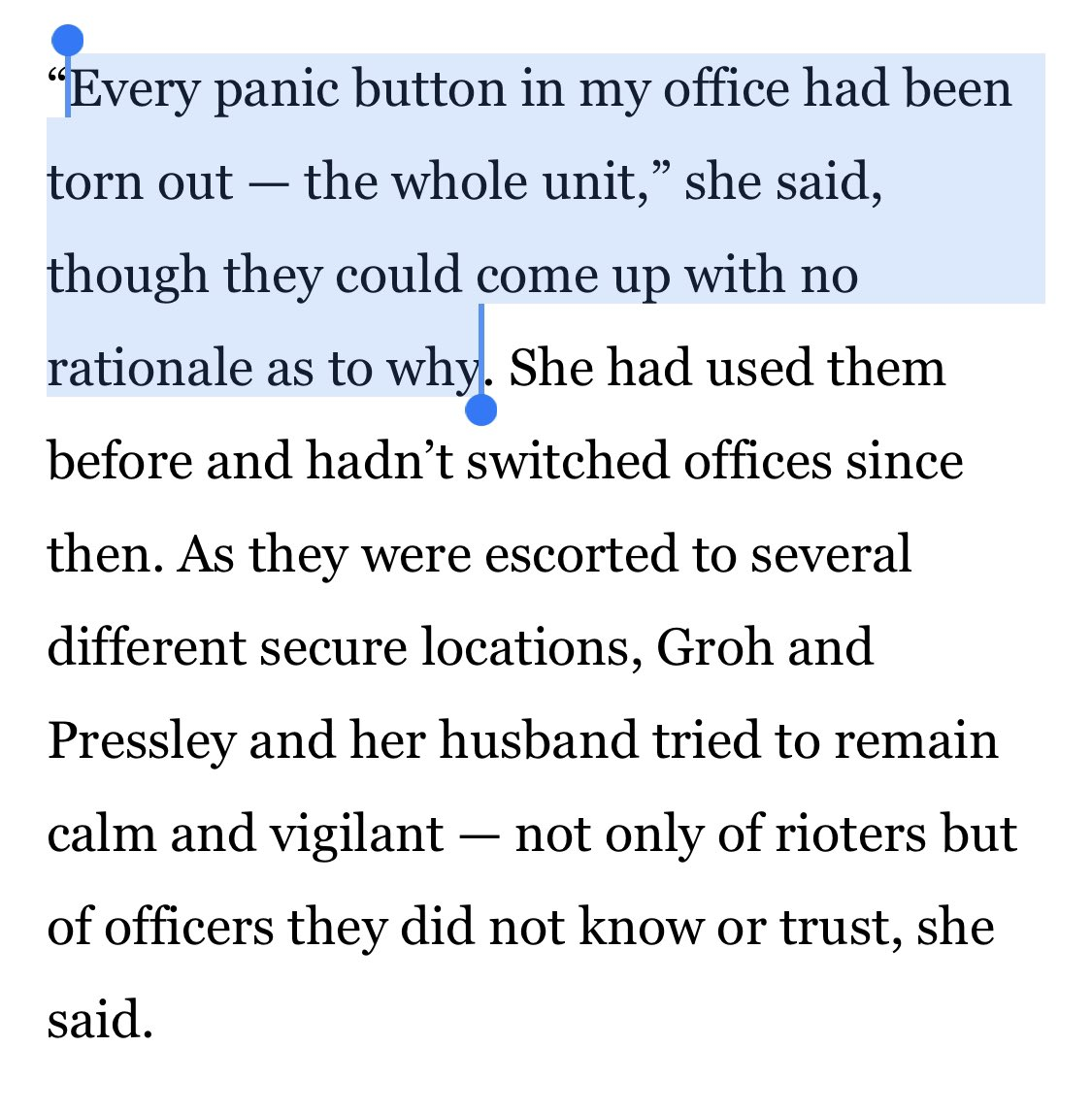 """According to Ayanna Pressley's chief of staff Sarah Groh, the panic buttons in the Congresswoman's office were all """"torn out—the whole unit.""""  They don't know why or who did it."""