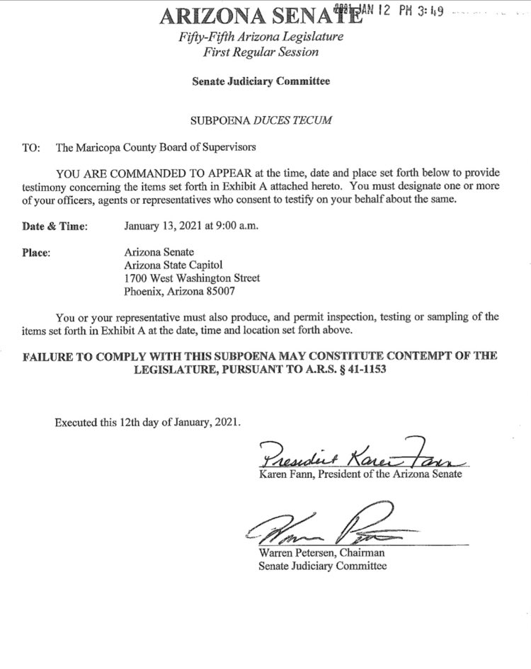 LAST-MINUTE SUBPOENA Arizona State Senate wants Maricopa County to hand over election docs & eqpt at Senate bldg by 9am Weds (in lobby?). What's odd: Court hearing at same time on original, almost identical Senate subpoena. Stay tuned...