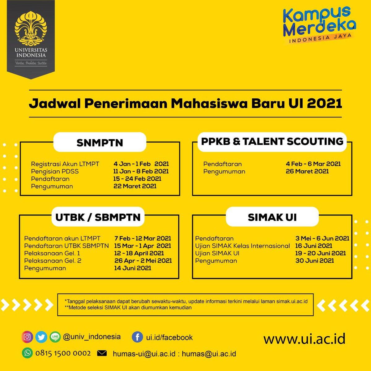 Universitasindonesia V Twitter Yuk Catat Jadwal Penerimaan Mahasiswa Baru Ui 2021 Untuk Jenjang Sarjana Dan Vokasi Simpan Dan Sebar Luaskan Informasi Ini Ke Teman Teman Kalian Jangan Sampai Terlewat Yaaa Persiapkan Diri Sebaik