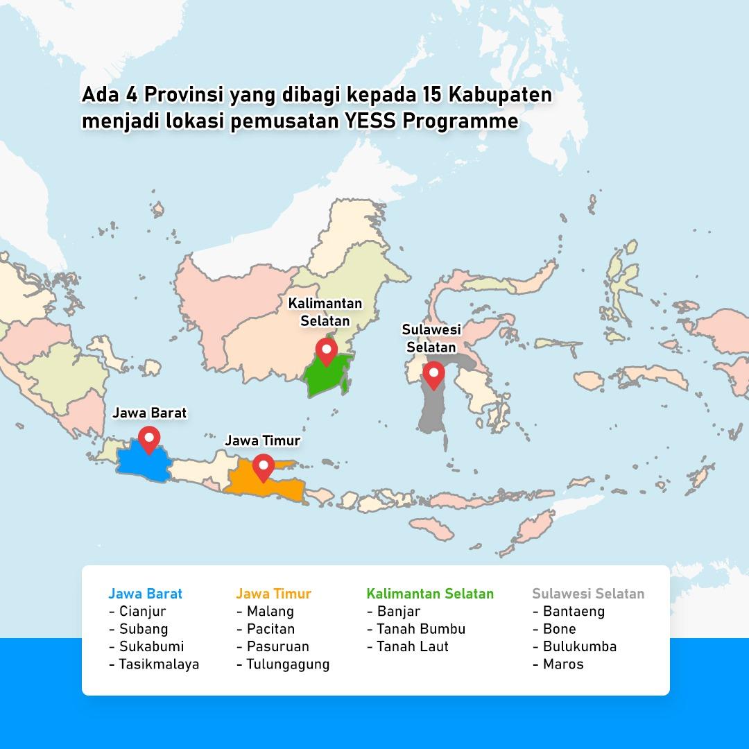#Kalsel : Kab. Banjar, Tanah Laut & Tanah Bumbu. #Jatim : Kab. Malang, Pasuruan, Tulungagung & Pacitan. #Sulsel : Kab. Bantaeng, Bone, Bulukumba & Maros.  #Jabar : Kab. Cianjur, Sukabumi, Tasikmalaya & Subang  #YESSProgramme #YESS #KementerianPertanian #IFAD #MilenialMovement