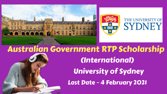 Australian Government RTP Scholarship (International), University of Sydney