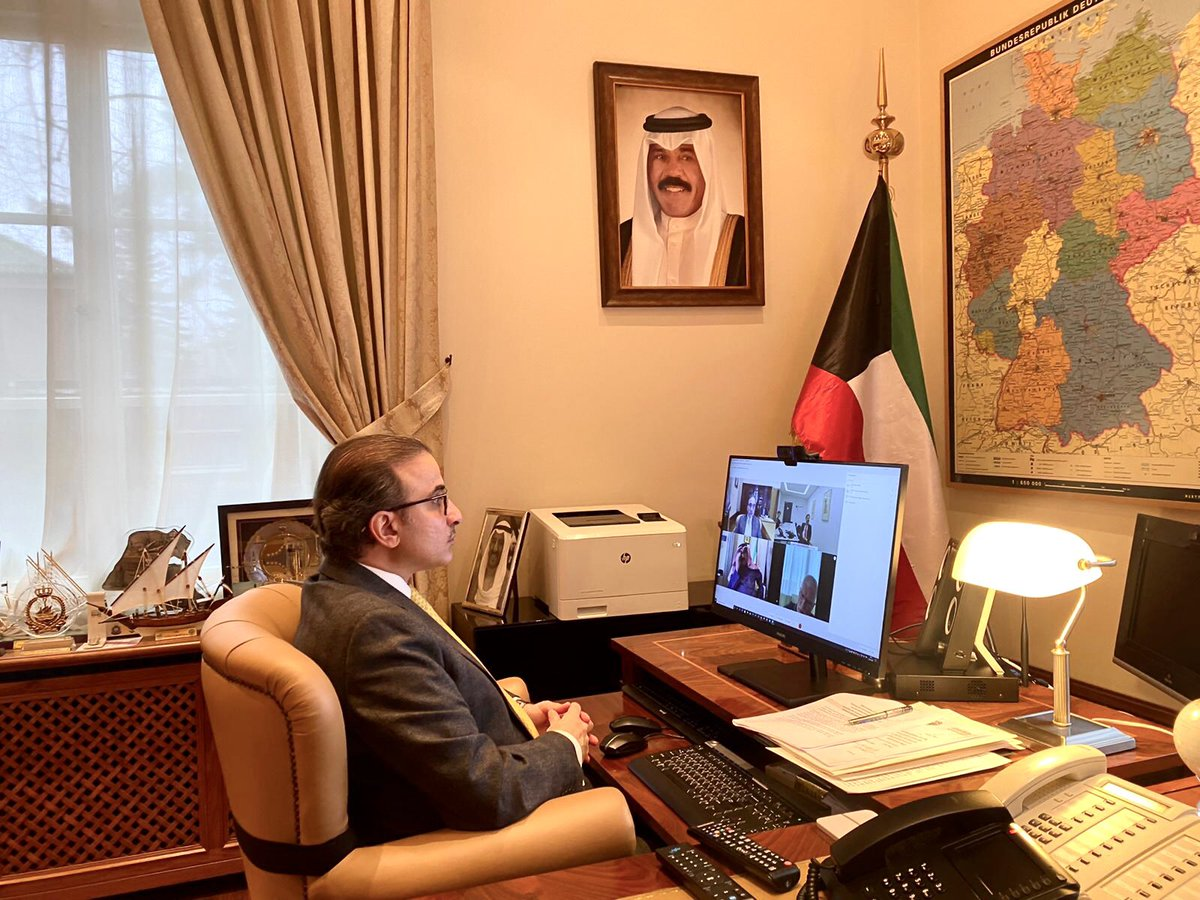 A fruitful virtual meeting held today by HE Asst Foreign Minister for European Affairs Ambassador Walid Al-Khubaizi with HE the Director of Middle East,Africa & Latin America Dr. Philipp Ackermann,with participation of HE Ambassador  Najeeb Al-Bader &HE Ambassador Stefan Möbs🇰🇼🇩🇪 https://t.co/j00MWc339W