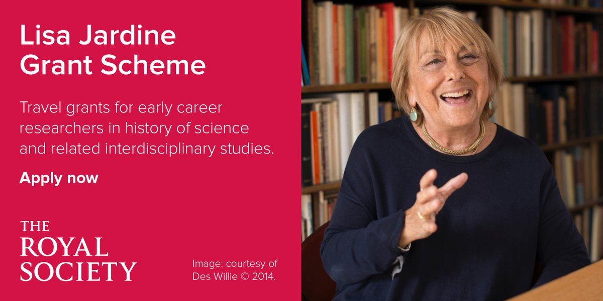 Applications are now open for the Lisa Jardine Grant Scheme, which offers the opportunity for early career scholars to exploit history of science collections, including the Royal Society's, to support research in the field of intellectual history: royalsociety.org/grants-schemes…