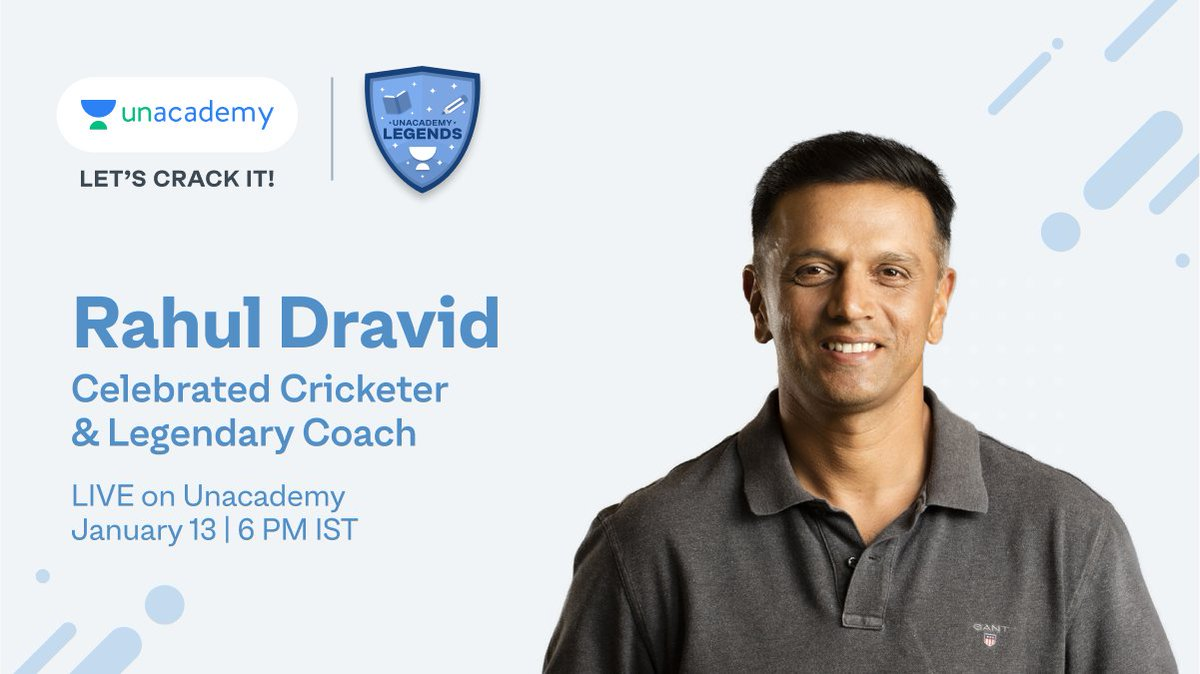 Don't forget to join Rahul Dravid live on #LegendsOnUnacademy, at 6 PM today.  Use invitation code LEGENDS to register: