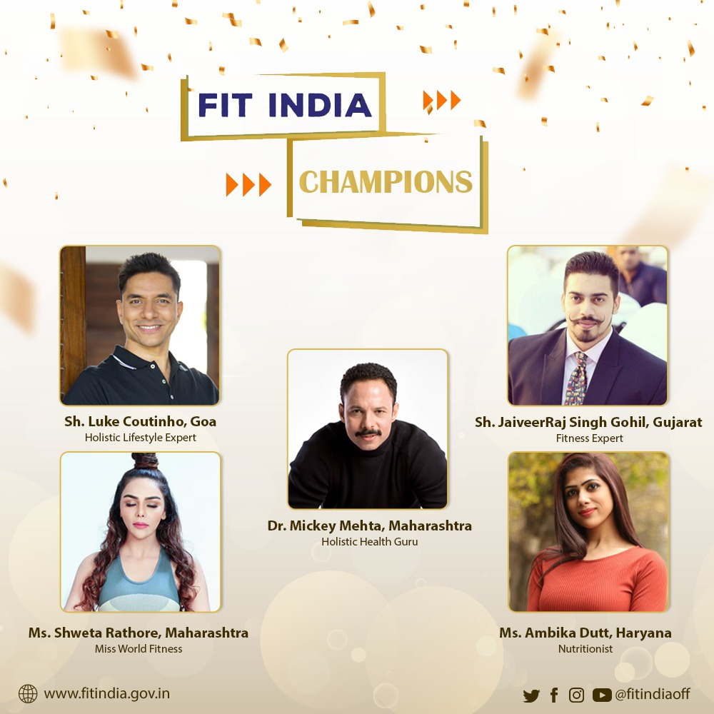 The people's fitness movement gets even bigger in the New Year!   We are delighted to announce that some of the biggest fitness celebrities of the country are now part of @FitIndiaOff. The Fit India Champions will motivate citizens to adopt fitness as a part of their lifestyle.🏃
