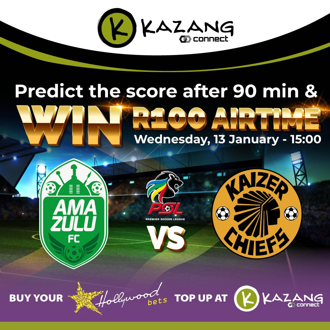 Correctly predict the score after 90 minutes and you could WIN a R100 airtime!⚽️  Comment your 90 minute score prediction below:  👇👇👇   Terms & Conditions Apply: https://t.co/oHvQ8XtLeQ #KazangAfrica #PredictandWin https://t.co/dr6pUFuYYq
