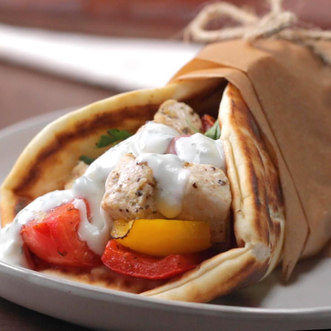 Replying to @Proper_Tasty: Easy Sheet Pan Greek Pitta Pocket