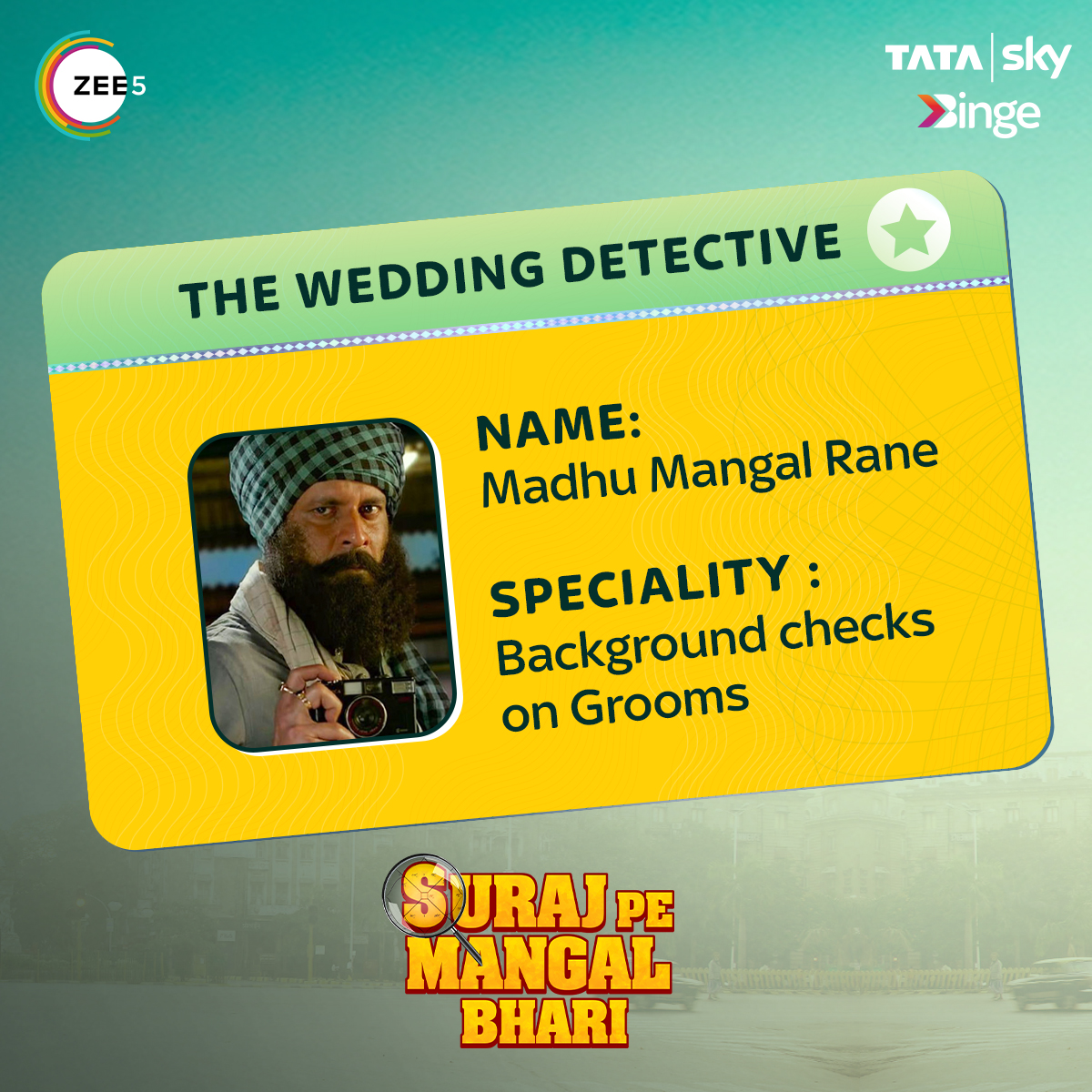 In a world without social media, he was the only hope for couples to get a thorough background check on each other. Watch @ZEE5Premium Original film 'Suraj Pe Mangal Bhari' only on the Big Screen of your TV with Tata Sky Binge.