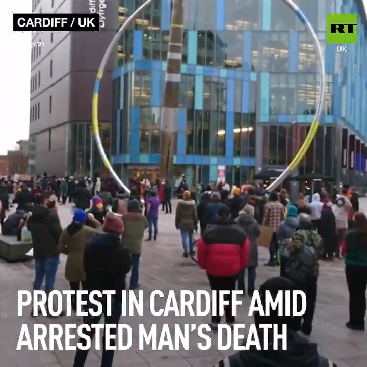 English #Police Video Tweets – Hundreds attended a protest in #Cardiff yesterday after a man was found dead jus…