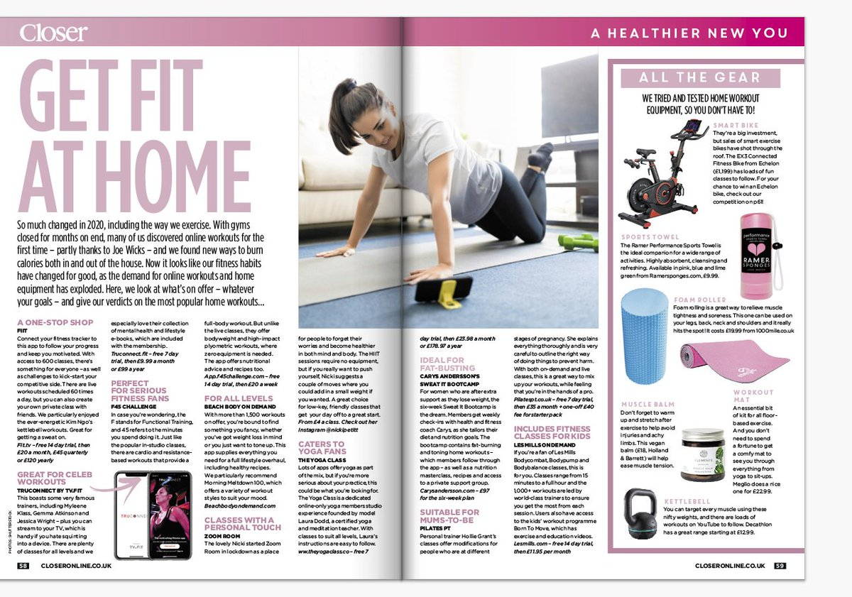 Thank you @CloserOnline for featuring us in their most recent article💪🏡  Download our app #TRUCONNECT and join the #TRUCONNECTTeam community where you will find over 1000 hours of workouts, meditation tracks and nutritional advice! 👉    #workoutathome