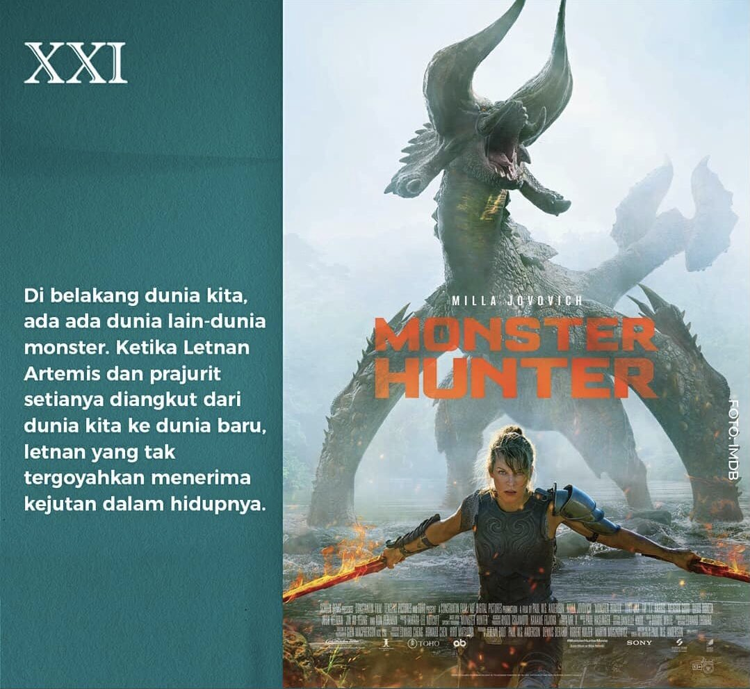 The Monster Hunting has started!   For all Sobat XXI that has been waiting, #MonsterHunterMovieID is now playing at Cinema XXI and IMAX 🔥  Don't miss the excitement!  For more info, go to   #NowShowingXXI #RinduNontondiXXI #ASIKnyakeBioskop